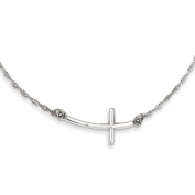 Sterling Silver Large Sideways Curved Cross Necklace