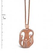 Bronze Loving Family® Heart Necklace - Mother and 3 Children