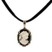 Sterling Silver Vintage Style Small Resin Cameo Pendant with Suede Cord