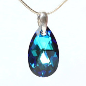 2013. Teardrop Pendant Necklace made with Bermuda Blue Crystals and Sterling Silver