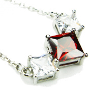 CZ-Vee Necklace, Garnet-Coloured CZs, 45.7cm