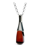 Black Cherry Amber and Sterling Silver Drop Pendant, 45.7cm