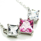 CZ-Vee Necklace, Pink Topaz-Coloured CZs, 45.7cm