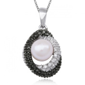 Sterling Silver Black and White Diamond Oval with Pearl Pendant Necklace , 45.7cm