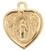Small Gold Over Sterling Heart Shaped First Communion Gift Miraculous Mary Medal Pendant