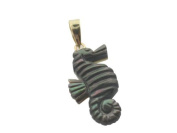 Black Mother Of Pearl Small Sea Horse Pendant, 14k Gold