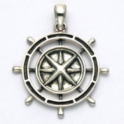 Sterling Silver Nautical Compass Pendant