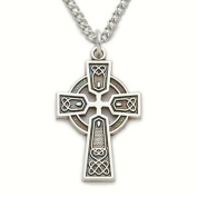 Sterling Silver 1.9cm Engraved Trinity Celtic Cross Necklace on 45.7cm Chain