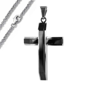 Stainless Steel Cross Pendant with Black PVD (55.9cm Long Stainless Steel Circle Link Necklace is included0