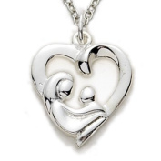 1.6cm Sterling Silver Pierced Mother and Child Heart Necklace on 45.7cm Chain