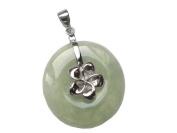 Light Green Jade Silver Plumeria Disc, 925 Sterling Silver