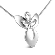 Sterling Silver Guardian Angel Pendant on Snake Chain Necklace