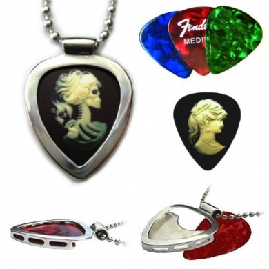 PICKBAY Stainless Steel Guitar pick holder pendant w Victorian Cameo Goth Guitar pick & Ball chain necklace