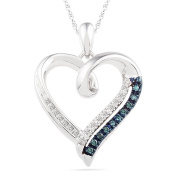 Sterling Silver Blue and White Round Diamond Heart Pendant