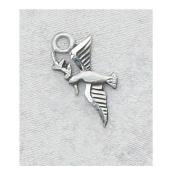 Sterling Silver Round Holy Spirit Confirmation Sacramental Medal Pendant Necklace