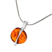 Sterling silver and round-shaped, cognac amber pendant with 46cm sterling silver chain