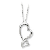 Sterling Silver & Cz Protected Heart 45.7cm Necklace