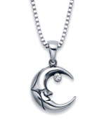 Stainless Steel Crescent Moon Design Pendant with White Crystal on a 50.8cm Box Chain