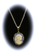 Sterling Silver Vintage Style Small Blue Resin Cameo Pendant with Chain