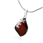 Sterling silver with gentle flower frames and leaf-shaped, cherry amber pendant on 46cm sterling silver chain