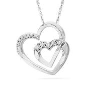 Platinum Plated Sterling Silver Round Diamond Double Heart Pendant