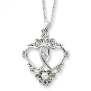 Sterling Silver Antiqued Cultured Pearl and CZ 45.7cm Heart Necklace