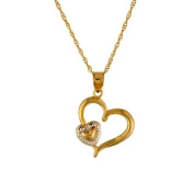 10Kt Gold Two Tone Double Heart Charm Pendant