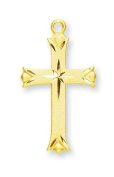 Cross Pendant with Star, 14 Karat Gold Over Sterling Silver with Chain