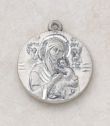 Our Lady of Perpetual Help Sterling Silver Virgin Mary Medal Catholic Pendant Necklace Jewellery
