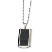 Stainless Steel Stingray Patterned Dog Tag Necklace 61cm - JewelryWeb
