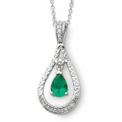 Sterling Silver May Green CZ 45.7cm Birthstone Necklace