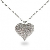 Sterling Silver Pave CZ Puffed Heart Necklace