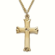 24K Gold Over Sterling Silver 2.2cm Engraved Women Cross Necklace with Budded Ends on 45.7cm Chain