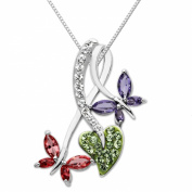 Carnevale Sterling Silver Double Butterfly with. Elements Pendant Necklace, 45.7cm