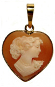 Heart Came Pendant, Italian Conch Shell Master Carved Sterling Silver 18k Gold Overlay