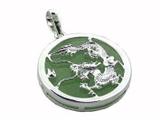 Light Green Jade Dragon's Fury Pendant with Solid Bezel, 925 Sterling Silver