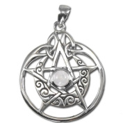 Sterling Silver Crescent Moon Pentacle Pentagram Pendant with Circle and White Moonstone by Dryad Design