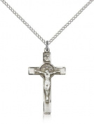 St. Benedict Crucifix Pendant, Sterling Silver