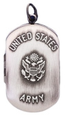 Sterling Silver US Army 2 Photo Dog Tag Military Locket