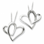 Sterling Silver 45.7cm Intertwined Double Heart Mother Necklace