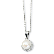 Sterling Silver 7mm Genuine White Cultured Pearl Necklace - 18 Inch - JewelryWeb