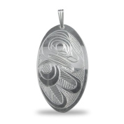 Sterling Silver Oval Eagle Pendant Pacific Northwest Coast Native