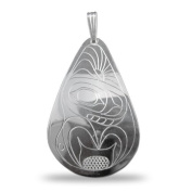 Sterling Silver Teardrop Orca or Killer Whale Pendant Pacific Northwest Coast Native