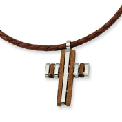 Stainless Steel Wood Accent Cross Pendant Necklace - 45.7cm - JewelryWeb