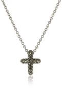 Judith Jack Sterling Silver Marcasite and Crystal Pave Reversible Cross Pentant Necklace, 40.6cm