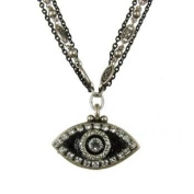 Michal Golan Sterling Silver Plated and Jet Black Triple Chain Necklace with Jet Black Enamel Evil Eye Pendant with. Crystal Accents