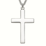 Sterling Silver 3.8cm Cross Necklace with Our Father Prayer on Back on 61cm Chain