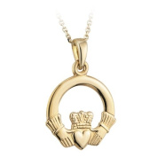 Gold Plated Large Claddagh Pendant Necklace-Made in Ireland