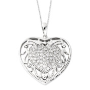 Sterling Silver Antiqued CZ To My Granddaughter 45.7cm Heart Necklace