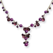 Sterling Silver Purple Cultured Pearl and Rose/Lavender Quartz Necklace